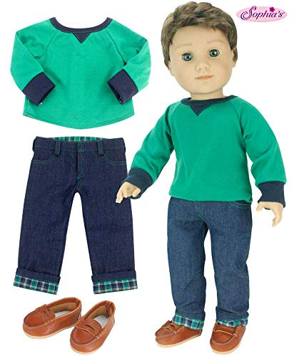 Sophia's 18 Inch Boy-Doll-Outfit 3 Pc. Green Shirt, Brown Penny Loafers, Flannel Cuffed Jeans Outfit for Boy Dolls. Perfect for American Dolls and More!