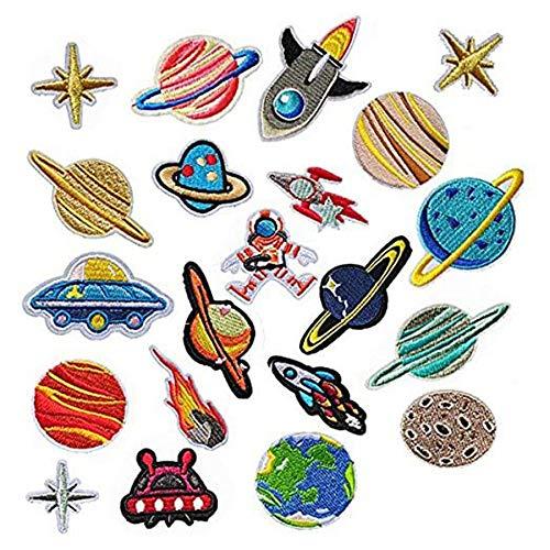Woohome Patches, 21 stuks kamer astronaut om op te strijken, patch stickers applicaties voor naaien of opstrijken, voor denim jeans, broeken en jassen, strijkpatches set, decoratie en reparatie