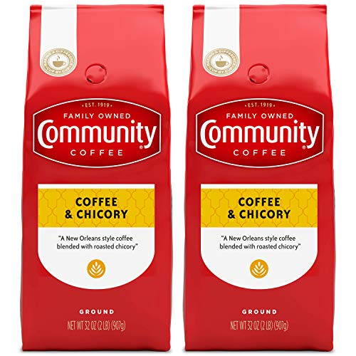 Community Coffee Ground Coffee & Chicory Blend, 32 Ounces (Pack of 2)