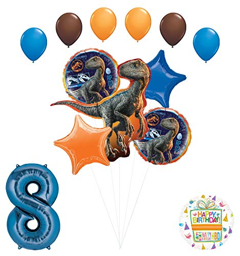 Jurassic World - Suministros para fiesta de 8º cumpleaños, diseño de globos de raptor