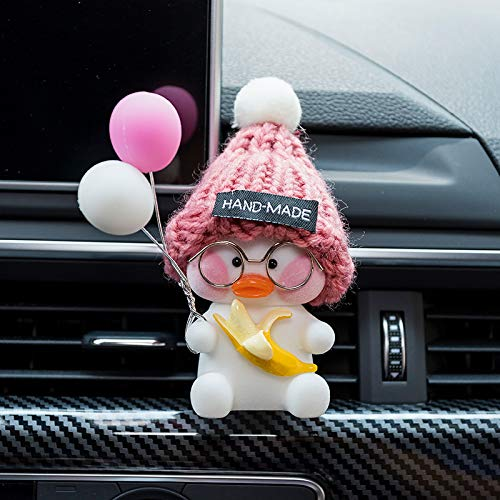 RAP Car Interior Outlet Aromatheie Clip Auto Creative Car Parfum airconditioning Cartoon Decoratie Mooie decoratie vrouwen zitten net rode eend [Pink Cap Banana] Roze Wit Ballon