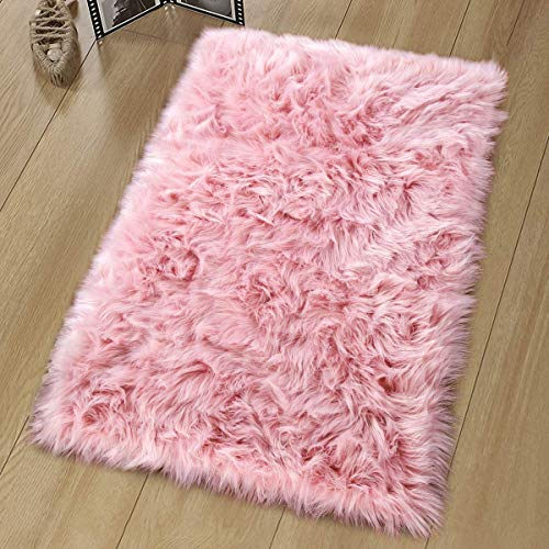 YJ.GWL Teppich Faux Lammfell Teppich Kunstfell Schaffell Imitat Teppich Schlafzimmer Wohnzimmer Boden Sofa Stuhl Fell Rosa 60 x 90 cm