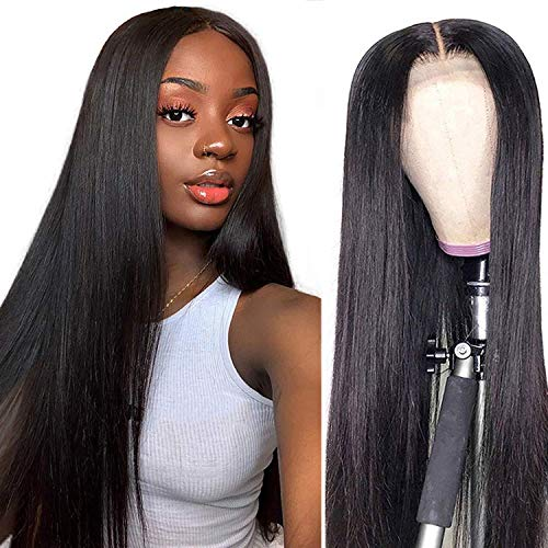 ALI GRACE Lace Closure Straight Human Hair Wigs for Women 4x4 Unprocessed 150% Density Virgin Hair wig,Pre Plucked Lace Closure Wigs with Baby Hair Natural Color(20inch)