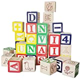 50 Stück ABC Klötze Bausteine Buchstaben Zahlen Würfel Blöcke Kinder Holzspielzeug