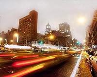 数字によるDIY油絵キットテーマデジタル油絵キャンバスキット誕生日の結婚式やクリスマスの装飾の装飾ニューヨークの夜の建物交通道路