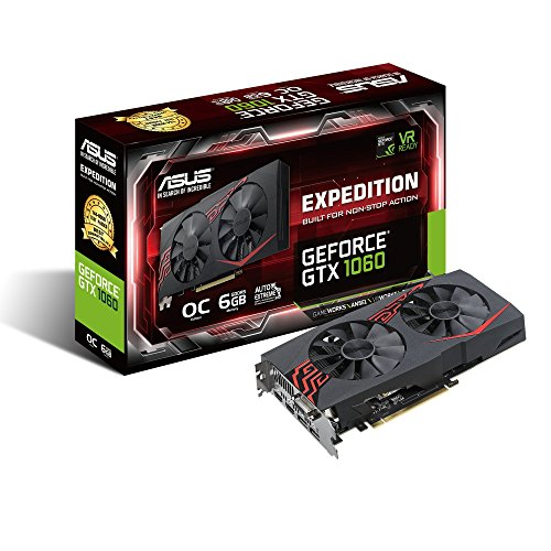 ASUS NVIDIA GeForce GTX1060 Expedition O6G Gaming Grafikkarte (PCIe 3.9, 6GB DDR5 Speicher, VR-fähig, DVI, HDMI, DisplayPort)