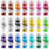 Pigmento de Resina Epoxi - 21 Colores x 10g Mica en polvo Tinte de Resina Epoxi - Colorante de Limo de Grado Cosmético para Fabricación de Jabón Bomba de Baño, Arte de Uñas, Pintura - 210g Total