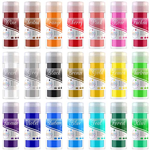 Epoxidharz Farbe - 21er x 10ml Metallic Epoxy Resin Farbe Seifenfarbe - Mica Pulver Farben Pigment fur Resin, Kunstharz - Kosmetische Mica Powder Pigmente für Seifenherstellung, Nail, Slime, Malerei
