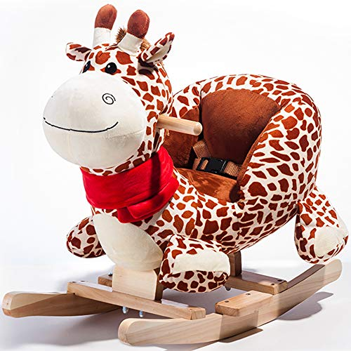 DDU Toddler Rocking Horse Toys Plush Rocking Ride On Toy Animal Rider Chair with Handle Grip Safe Belt Wood Base for Rocking Chair for 6-36 Months Kids Boys Girls Beige-Giraffe