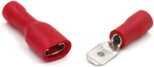 Baomain Red Female / Male Insulated Spade Wire Connector Electrical Crimp Terminal 22-16 AWG 4.8 x 0.5mm 100 Pack