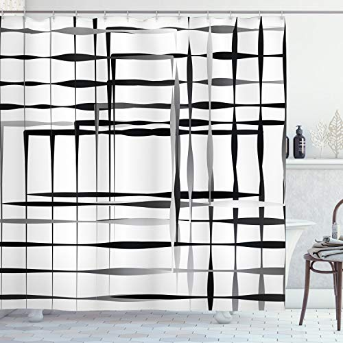 ABAKUHAUS Moderne Kunst Duschvorhang, Abstrakte Kunst geometrische, Waserdichter Stoff mit 12 Haken Set Dekorativer Farbfest Bakterie Resistet, 175 x 200 cm, Schwarz weiß