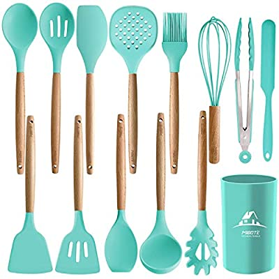 MIBOTE 14PCS Silicone Cooking Kitchen Utensils Set with Holder, Wooden Handles Cooking Tool BPA Free Non Toxic Turner Tongs Spatula Spoon Kitchen Gadgets Set for Nonstick Cookware (Green) by MIBOTE