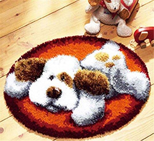 Beyond Your Thoughts 6 Modell Hund Knüpfteppich Formteppich für Kinder und Erwachsene zum Selber Knüpfen Teppich Latch Hook Kit Child Rug Dog023 50 by 50cm