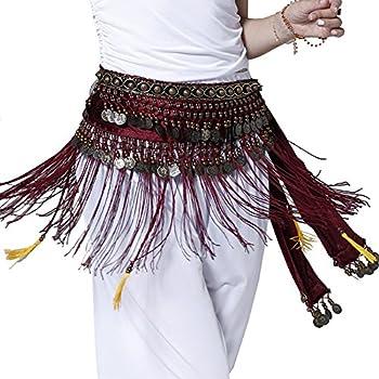 Pilot-trade Women s Big Noise Belly Dance Tribe National Style Belt Tassel Hip Scarfs Velvet Waist Rose red