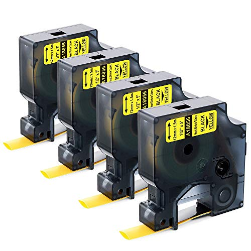 """Aonomi Compatible Labels Tape Replacement for DYMO 18056 Heat Shrink Tube Label for DYMO Rhino 4200, 5200, 5000, 6000 Industrial Label Maker, Black on Yellow, 1/2"""" x 4.9', 4-Pack"""