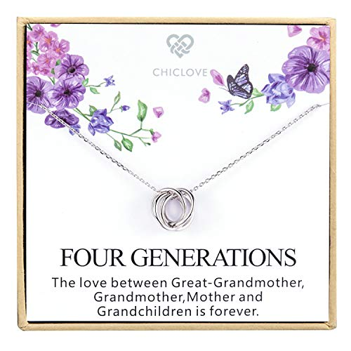 Four Generations Necklace for Great Grandmother - Sterling Silver Four Circles Generation Necklace Gifts for Great Grandma (Four Generation Necklace)