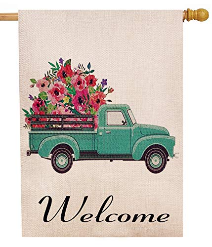 Selmad Summer Flower Truck 28 x 40 House Flag Decorative Farmhouse Décor, Spring Large Garden Flag Double Sided, Floral Welcome Old Farm Pickup Yard Decoration, Rustic Burlap Seasonal Outdoor Flag