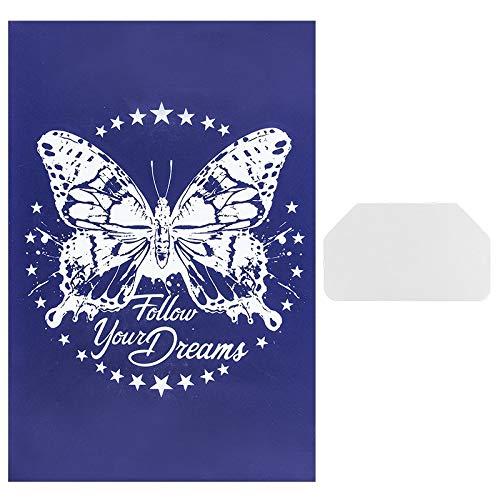 Ideen mit Herz Siebdruck-Schablone | Motiv + Schriftzug | 32,5 cm x 22,5 cm | selbstklebend | inkl. Rakel | ideal für Textil, Holz, Glas, Keramik, Papier (Schmetterling | Follow Your Dreams)