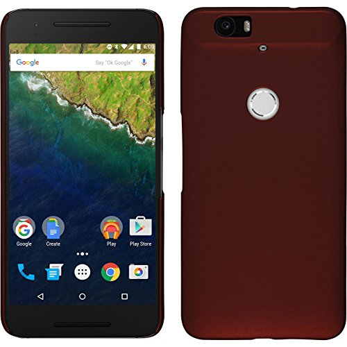 PhoneNatic Case kompatibel mit Google Nexus 6P - Hülle rot gummiert Hard-case + 2 Schutzfolien