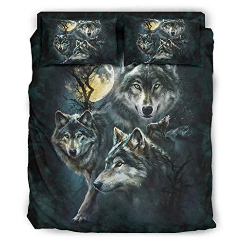Juego de ropa de cama con diseño de tres lobos y el lobo, color blanco, 203 x 230 cm