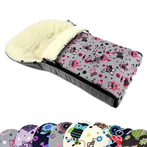 BAMBINIWELT universaler Winterfußsack (90cm oder 108cm), auch geeignet für Babyschale, Kinderwagen, Buggy, aus Wolle im Eulendesign (90cm, 12)