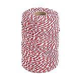 Tenn Well 200m Rot und Weiß Bindfäden, Ideal zum Backen, Fleisch anrichten, Handarbeiten, Geschenke Verpacken an Weihnachten