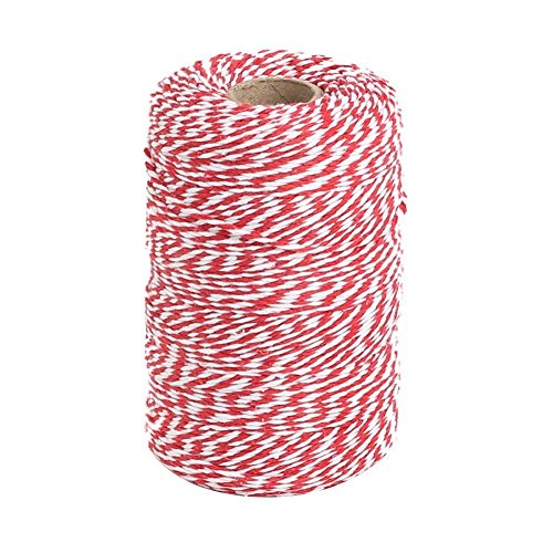 Vivifying Red and White Bakers Twine, 656 Feet Cotton String for DIY Crafts, Christmas Gift Wrapping