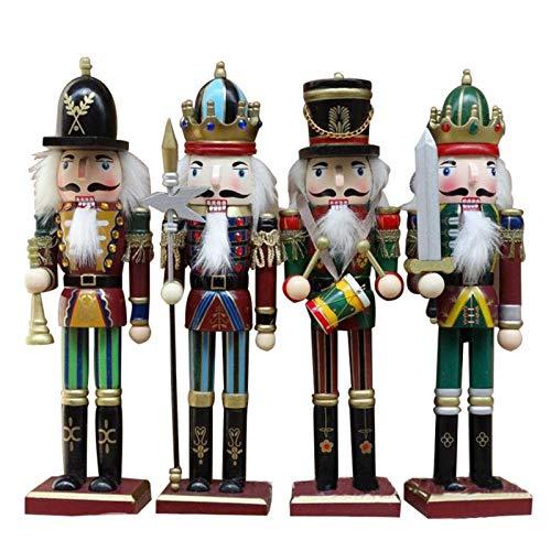Casse Noisette En Bois, 30CM Ensemble De 4 Pièces Classique Casse-noisette Noel Soldat Figurine, Casse Noix En Bois, Nutcracker Soldier Christmas Pour Decoration De Noël