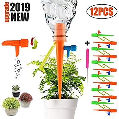 Plant Self Watering Spikes System with Slow Release Control Valve Switch Self Irrigation Watering Drip Devices, Plant Waterer with Anti-Tilt Anti-Down Bracket, Suitable for Most Bottles(12 Pack) from ENTRANCED