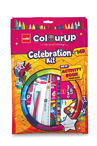 Cello ColourUp Celebration Kit - Gift Pack   Wax Crayon   Oil Pastel   12 Sketch Pens   Colour Bomb Pen   Mechanical Pencil   Free Activity Book   Hobby Stationery for Kids   Best for Gifting