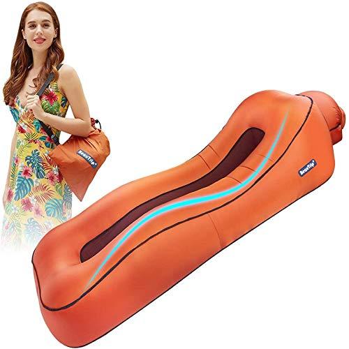 AMTSKR tumbona inflable para tumbona de aire para cama perezosa, camping, playa, sofá, impermeable, colchón, flotador de agua