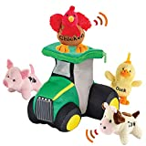 Bundaloo Plush Tractor and Farm Animals with Sounds - Plushie Play Set with Cute Talking Barn Animals in a Large Truck - Soft Stuffed Cow, Rooster, Duck & Pig - Birthday Gifts & Learning Toy for Kids