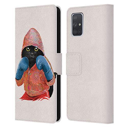 Head Case Designs Licenciado Oficialmente Tummeow Gato 2 Boxeo Carcasa de Cuero Tipo Libro Compatible con Samsung Galaxy A71 (2019)