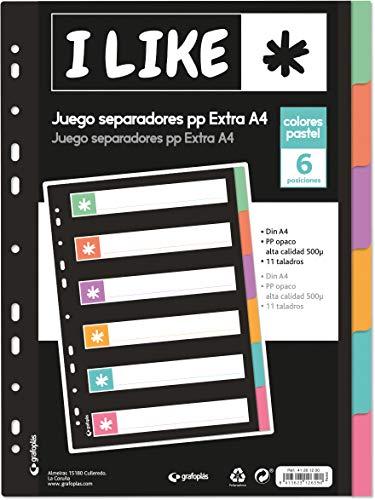 Grafoplás 41261200. Juego de Separadores para Archivador, A4, Colores Pastel, 6 Posiciones, Colección Like