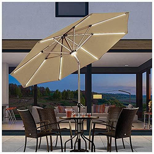 LMJN - Sombrilla de jardín con luces LED solares, manivela e iluminación exterior (3 colores sin base)