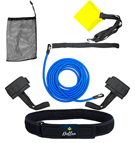 Dollan Swim Tether Stationary Swimming kit, 3in1 Swim Training Belt, Swim Belts for Adults,Women Kids Swimming Resistance Belt,Ankle Bands,Parachute,Trainer Loop Swim Bungee Cords, Swim Static Harness