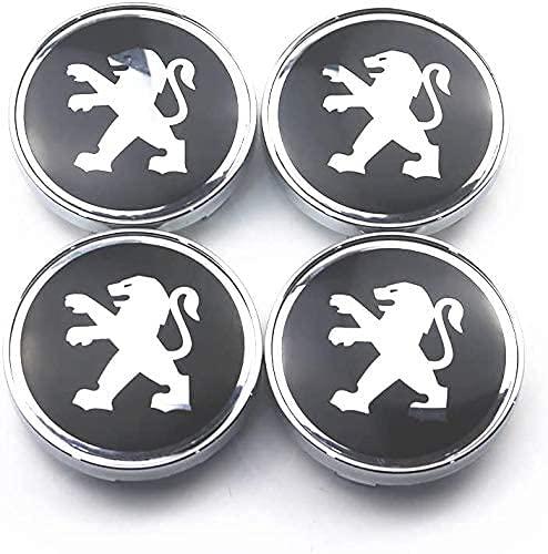 4 piezas coche rueda centrales tapas para Peugeot 206 207 208 308 408 508 2008 3008, 60mm tapas centrales de buje con insignias, conjunto de emblemas molduras para llantas accesorios