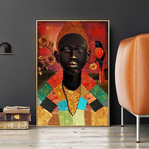 wZUN Retrato Pintura Decorativa de niño Africano con Pintura al óleo de pájaro sobre Lienzo, póster e impresión de Arte Mural 60x80 Sin Marco