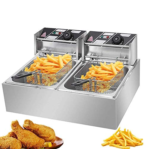 12L 5000W MAX Deep Fryer with 2 Baskets, Stainless Steel Dual Basket Electric Fryer, Countertop Food Cooking & French Fries Fryer for Chicken Chips Home Kitchen Restaurant (a-12L) a
