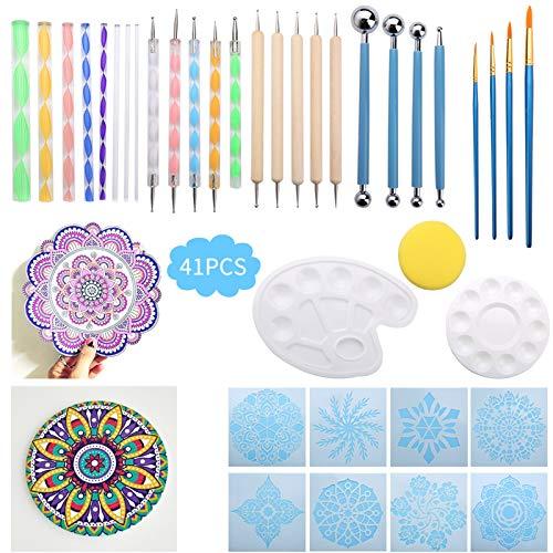 Herramientas puntillismo mandala, Liesun 41pcs kits de pintura Mandala, herramientas de pintura de mandala, pinturas al oleo, contiene varillas acrílicas, pinceles de pintura, palé de doble cara, etc