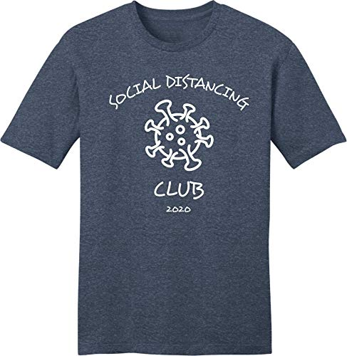 Safety Imprints Social Distancing Tshirt Funny Pandemic Covid 19 Tee (3XL) Heathered Navy