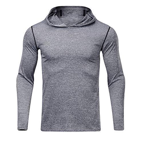 manadlian Homme T-Shirts et Tops de Sport Séchage Rapide Sweats à Capuche Fitness Sweat-Shirts Manches Longues Élasticité Pullover Hommes Hiver Automne Pull