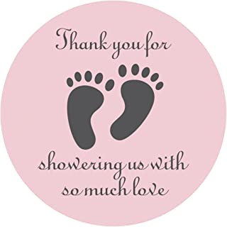 Pink Little Feet Baby Shower Stickers 2 inch Thank You for Showing Us Girl Baby Shower Party Favor Labels 40 - Pack