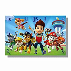 PAW Patrol 11'' x 18 Handmade Wall Clock - Get Unique décor for Home or Office – Best Gift Ideas for Kids, Friends, Parents and Your Soul Mates.