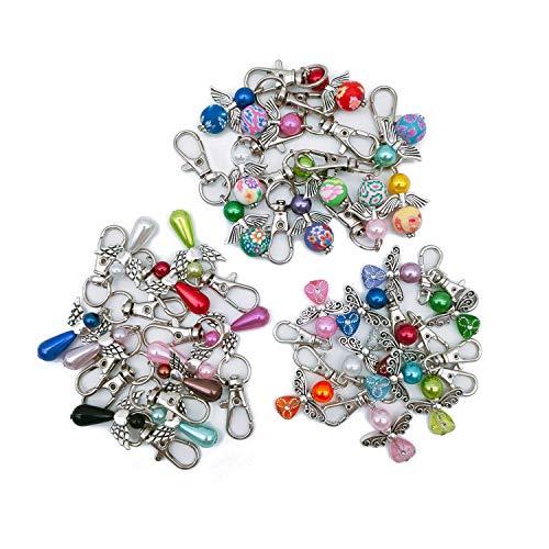 30 Stück Schutzengel Schlüsselanhänger Engel Charme Perlenengel Anhänger für DIY Hochzeit Schmuck Halskette Basteln