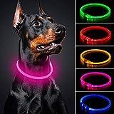 Collare per cani a LED Mini USB ricaricabile TPU Light Up Safety Pet Collare resistente all'acqua Base collare per cani di piccola media e grande (rosa)