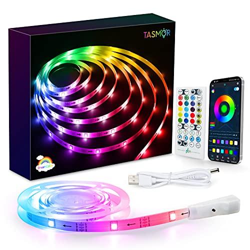 Tiras LED USB 2M, TASMOR Dream Color Luces LED TV 16 millones de Colores, Luz Led Bluetooth control con APP y Mando, Tira Led RGB-IC, Luz Led Adhesiva Decorativa para TV/PC, Fiesta, Pasillo
