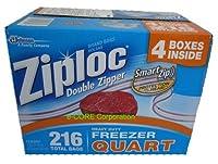 Ziplocジップロック冷凍保存バック(17.7cmx19.6cm)54枚入り4箱で216枚