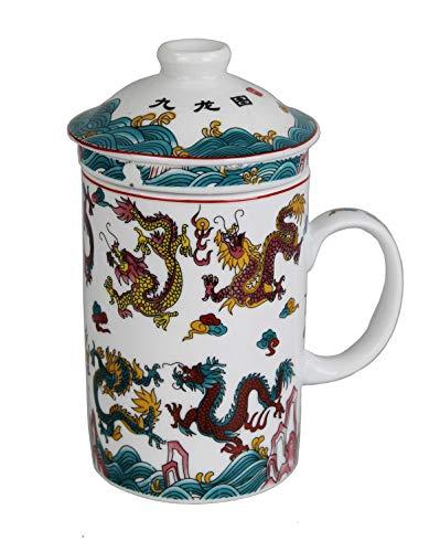 GMMH Teetasse mit Deckel und Sieb Becher aus Porzellan für Losen Tee oder Beutel (bunter Drache)