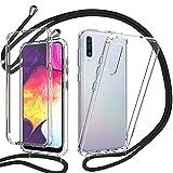 YuhooTech 360 Grad Handykette Hülle für Samsung Galaxy A50, Necklace Hülle mit Band/Doppel-Schutz Transparent Handyhülle[Einteiliges Design] Schutzhülle mit integriertem Bildschirmschutz-Schwarz